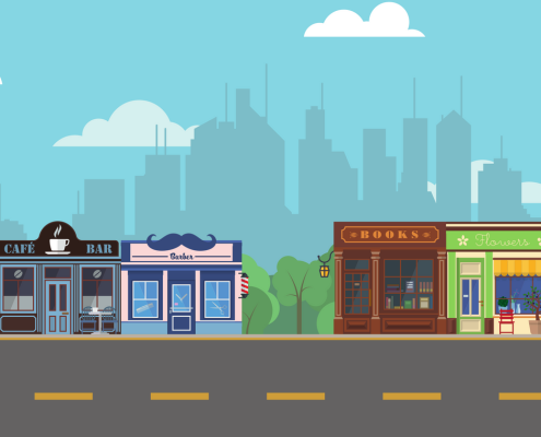 Illustration of shops and city