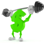 Dollar character lifting heavy barbell isolated on white background